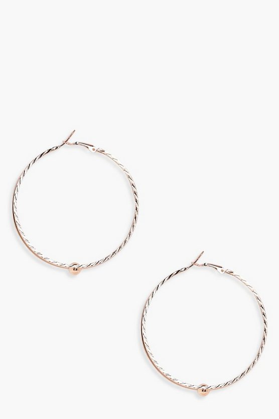 Womens Gold Ball Detail Double Layer Hoop