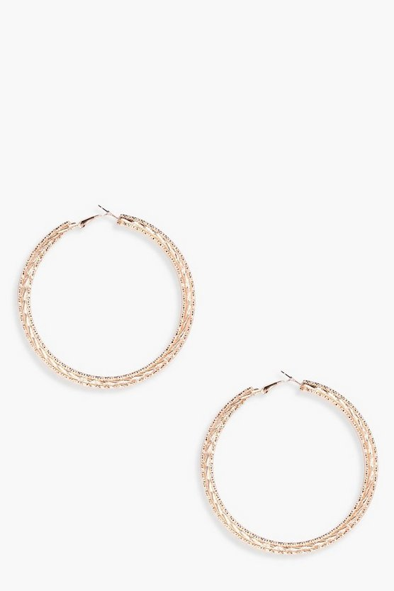 Layered Textured Hoop Earrings