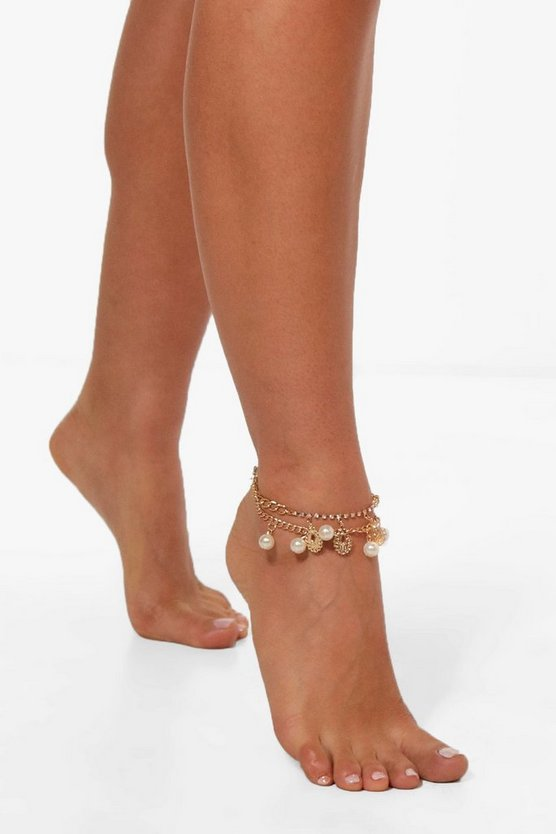 Pearl Diamante And Filigree Layered Anklet