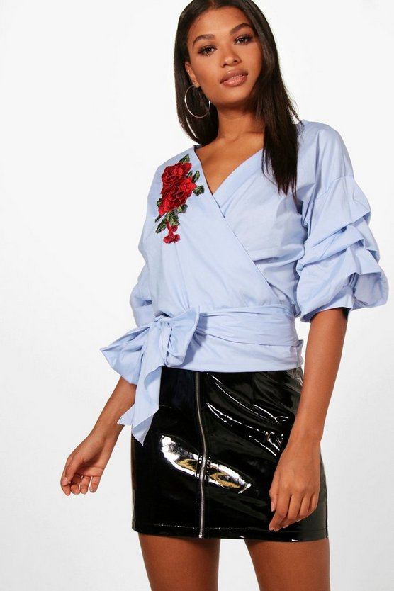 Blue Eliza Embroidered Off The Shoulder Ruched Sleeve Top
