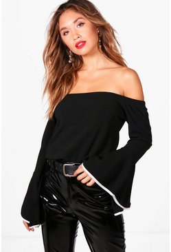 Womens Black Contrast Cuff Detail Off The Shoulder Top