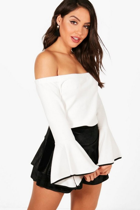 Contrast Cuff Detail Off The Shoulder Top