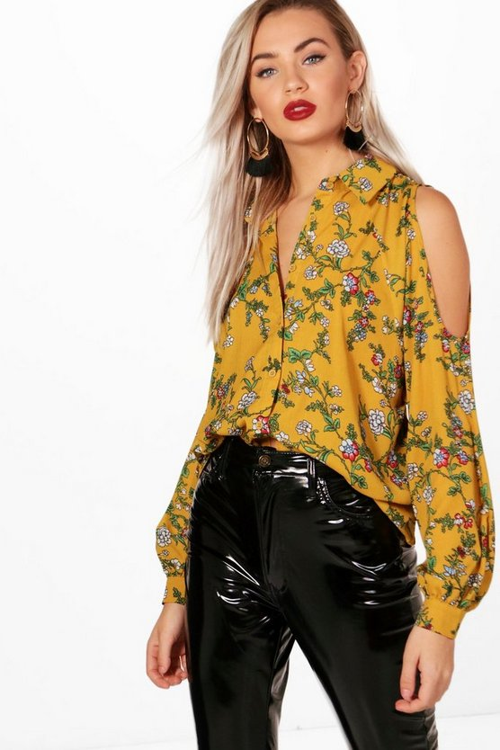 Floral Cold Shoulder Shirt, Amber, Donna
