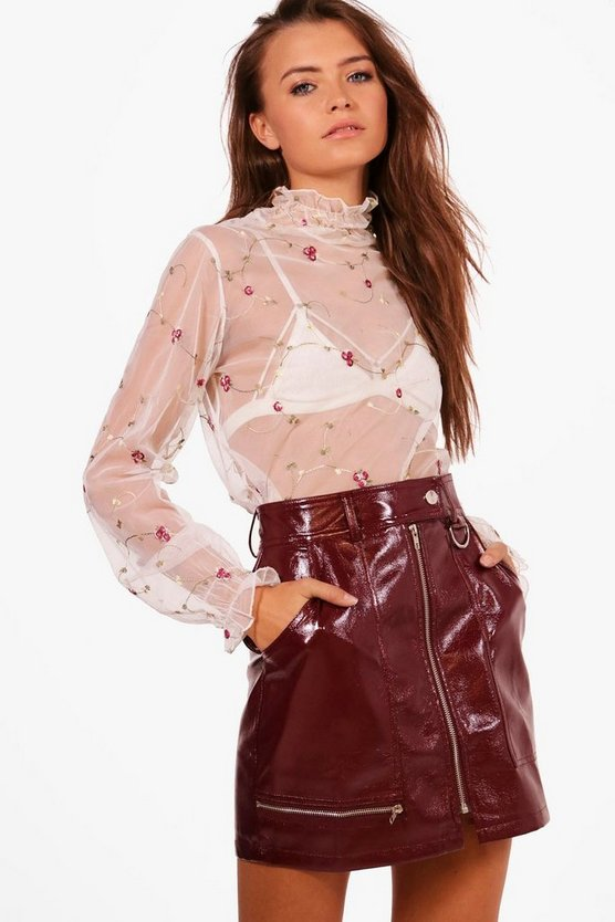 Aria Embroidered Mesh High Neck Top