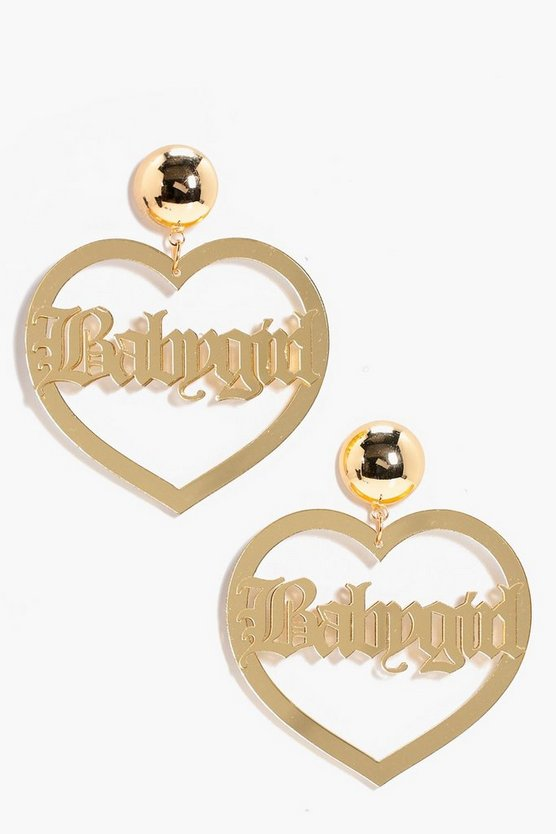 Babygirl Slogan Heart Earrings