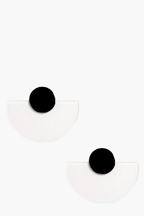 Black Acrylic Half Moon Stud Earrings