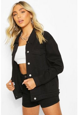 Velma Oversized Denim Jacket, Black