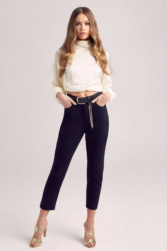 High Waist Roll Hem Mom Jeans, Black, Donna