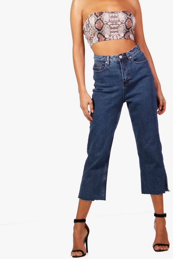 Womens Mid blue Cropped Split Seam Straight Leg Jeans