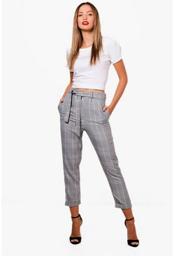 Womens Black Tie Waist Woven Dogtooth Check Trousers