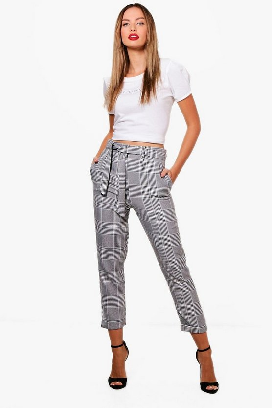 Tie Waist Woven Dogtooth Check Trousers