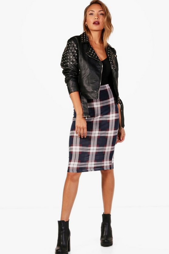 Luna Total Tartan Check Basic Jersey Midi Skirt