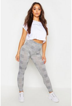 Dogtooth Check Basic Jersey Leggings, Black