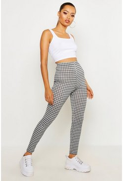 Womens Black Monochrome Mini Check Basic Jersey Leggings