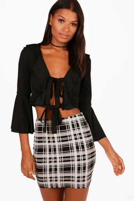 Black Melissa Monochrome Check Basic Jersey Mini Skirt