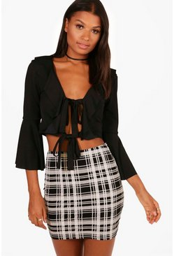 Womens Black Melissa Monochrome Check Basic Jersey Mini Skirt