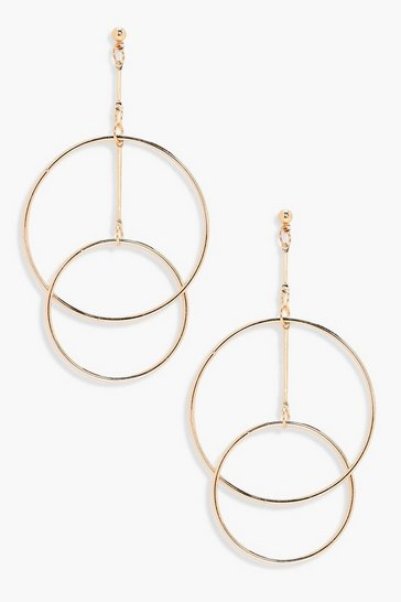 Womens Gold Layered Hoop Earrings
