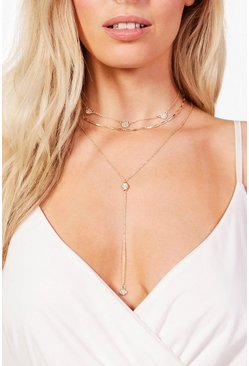 Gold Diamante Chain Choker & Plunge Necklace
