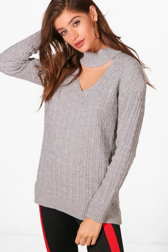 Cable Knit Choker Jumper