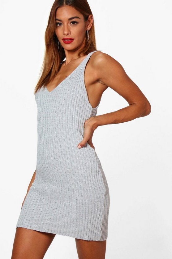 Molly Metallic Rib Knit Bodycon Dress