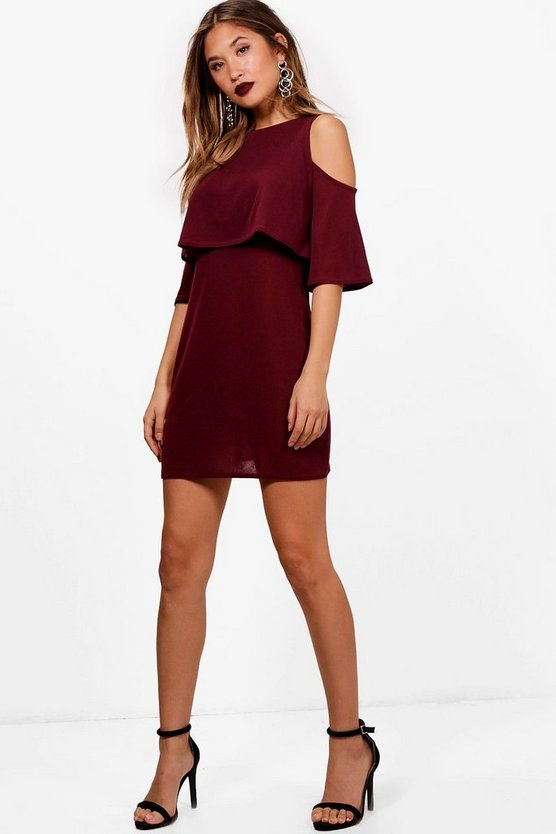 Cold Shoulder Double Layer Knit Dress