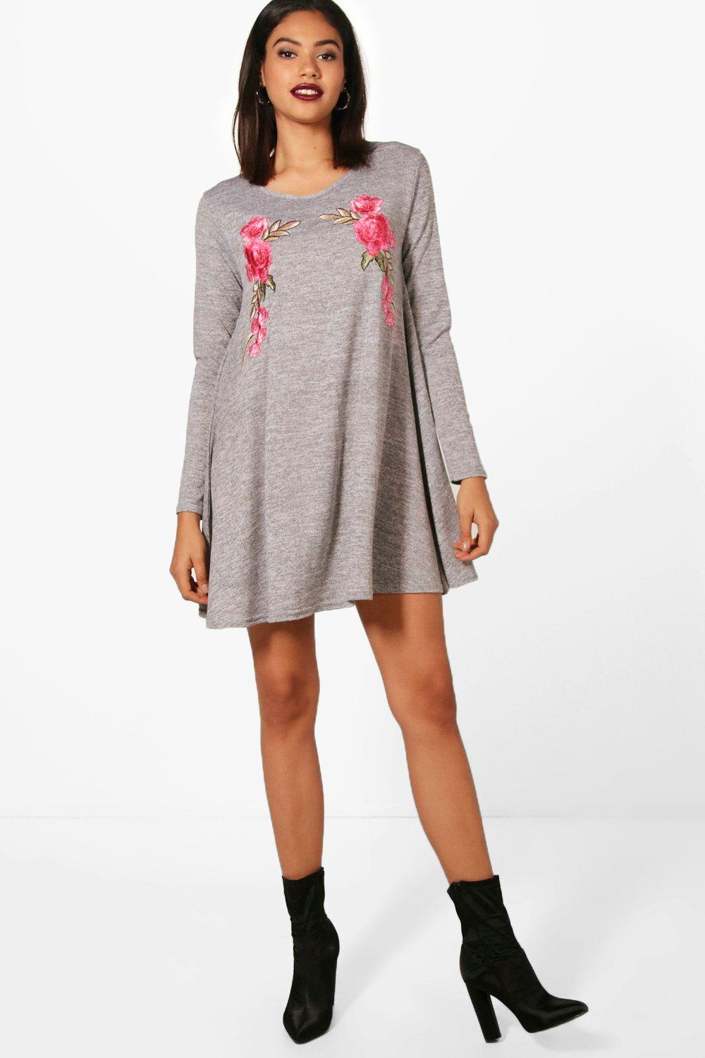 3dba5fe3966 Womens Embroidered Knit Swing Dress. Hover to zoom