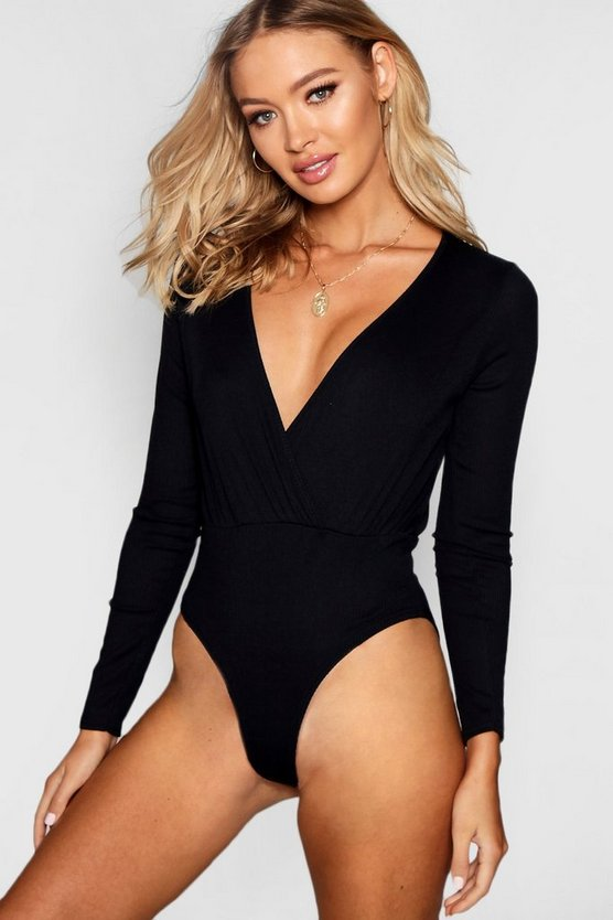 Wrap Over Long Sleeve Knit Bodysuit