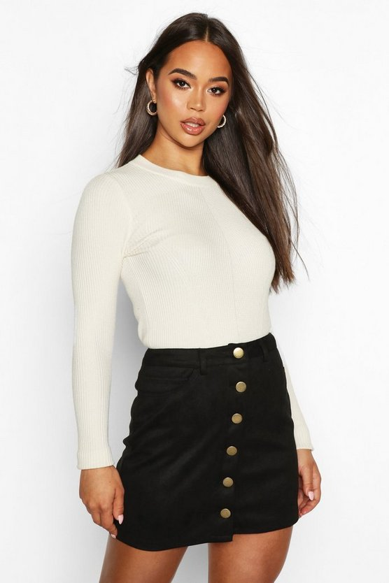 Womens Black Bonded Suede Button Through Mini Skirt