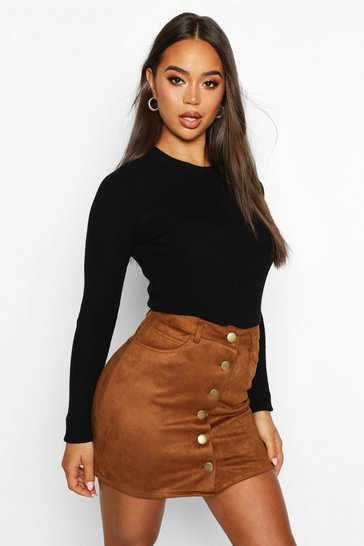 Tan Bonded Suede Button Through Mini Skirt