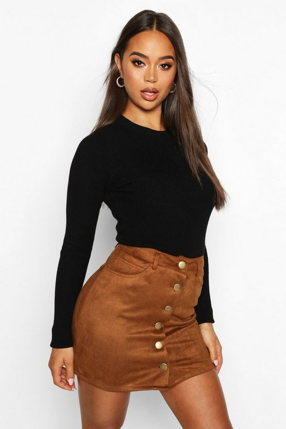 Bonded Suede Button Through Mini Skirt, Tan, Donna