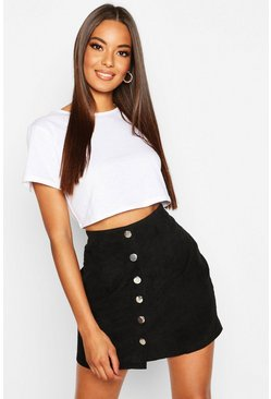 Womens Black Button Through Cord Mini Skirt