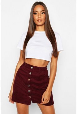 Womens Plum Button Through Cord Mini Skirt