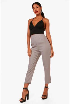 Womens Black Woven Dogtooth Ankle Grazer Trousers