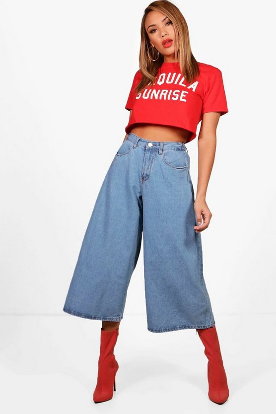 High Waist Ankle Grazer Wide Leg Jeans