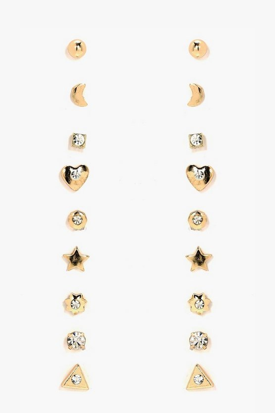 Womens Gold Diamante Mixed Earring Stud 9pk
