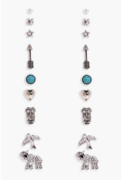 Silver Elephant And Arrow Mixed Earring Stud 9pk
