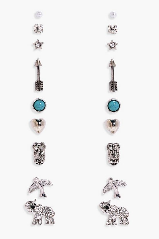 Womens Silver Elephant And Arrow Mixed Earring Stud 9pk