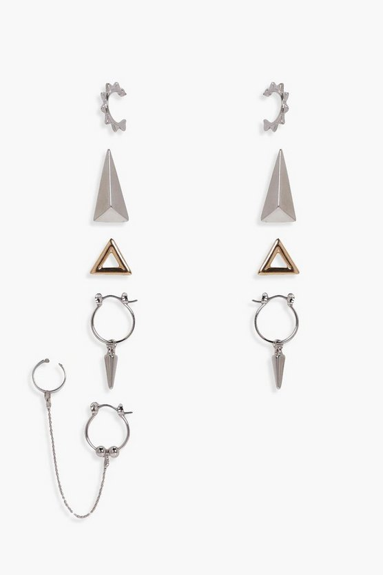 Angie Spike And Cuff Mixed Earring 6pk