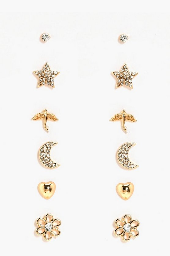 Moon And Star Mixed Diamante Earring Stud 6 Pack