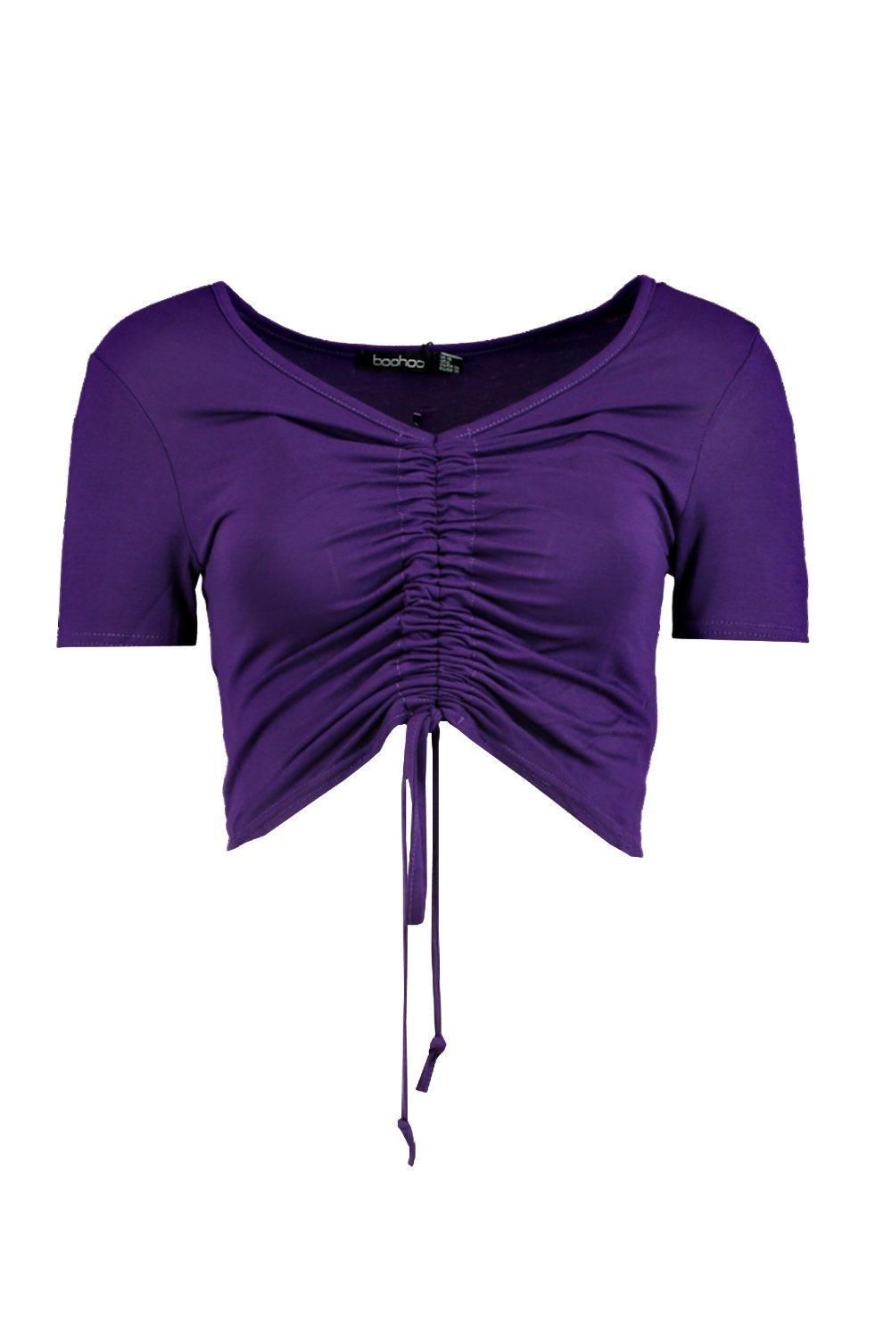 Boohoo-camiseta-fruncida-por-delante-freya-para-Mujer