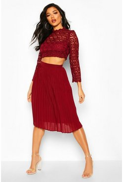 Womens Berry Boutique  Lace Top and Midi Skirt Set