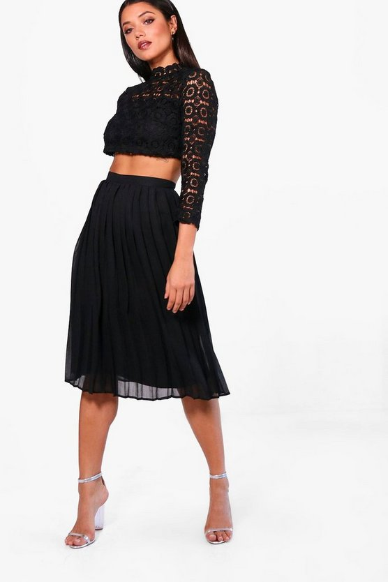 Womens Black Boutique  Lace Top and Midi Skirt Set