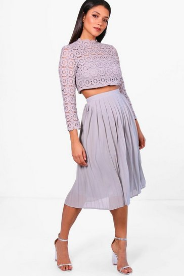 Grey Boutique  Lace Top and Midi Skirt Set