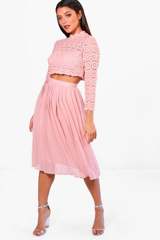 Boutique  Lace Top and Midi Skirt Set