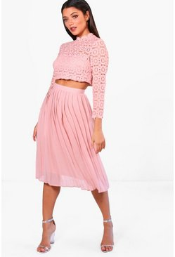 Womens Rose Boutique  Lace Top and Midi Skirt Set