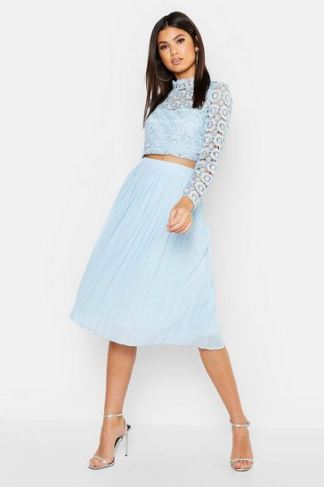 Womens Sky Boutique  Lace Top and Midi Skirt Set