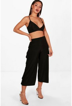 Womens Black Slinky Firll Culotte and Bralet Set