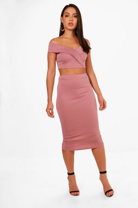 Off Shoulder Crop and Skirt Co-ord