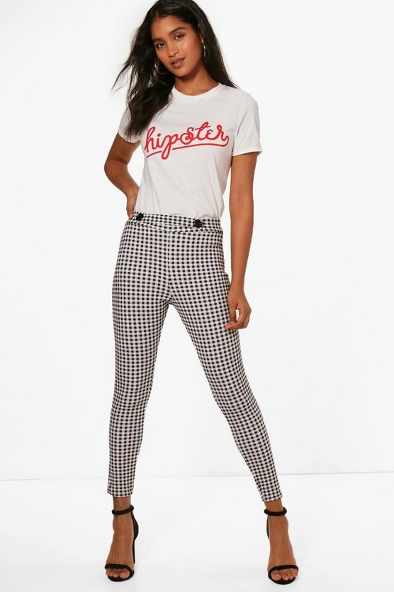 Anna Button Detail Gingham Skinny Trousers