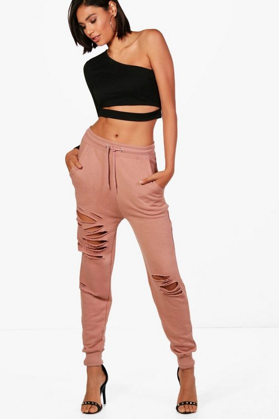 Distressed Front Loopback Joggers